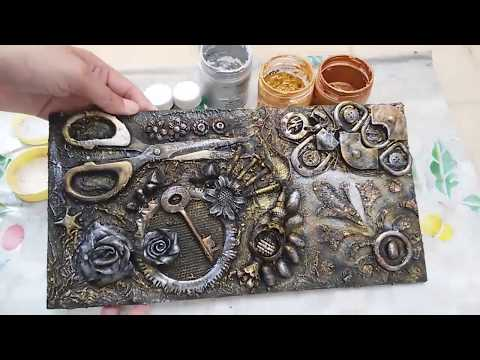 Mix Media Mural with Waste Material | Mix Media Art Techniqu