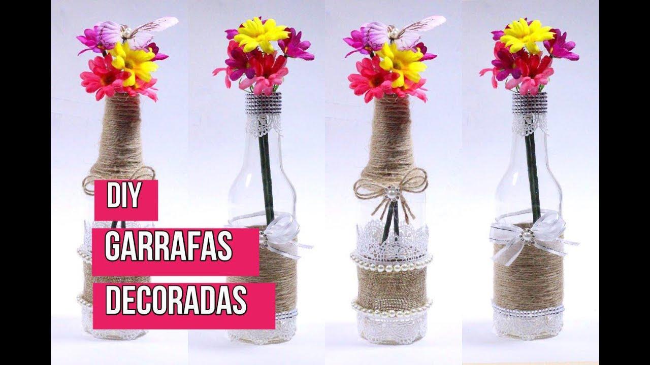 Como decorar garrafas de vidro YouTube -> Decorar Garrafas De Vidro Com Renda