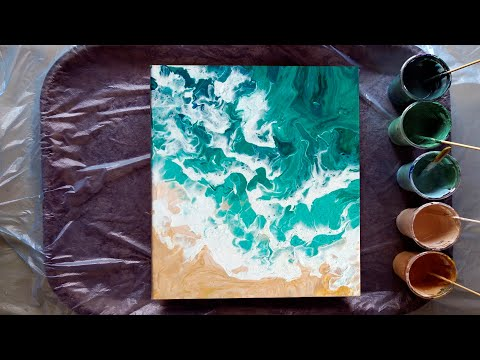 #7 first time painting ocean waves and beach | acrylic pouring for beginners