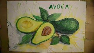 Видео урок по рисованию авокадо красками (акрил или гуашь)