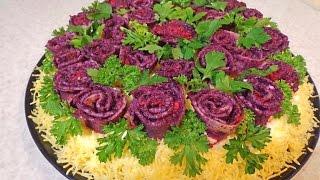 """Салат """"Букет из роз"""". С мясом курицы, грибами, морковью по-корейски ."""