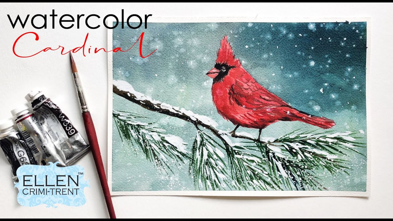 Watercolor Cardinal Painting Tutorial