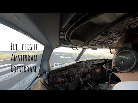 Full flight from Schiphol runway 36L to Rotterdam, landing runway 24.