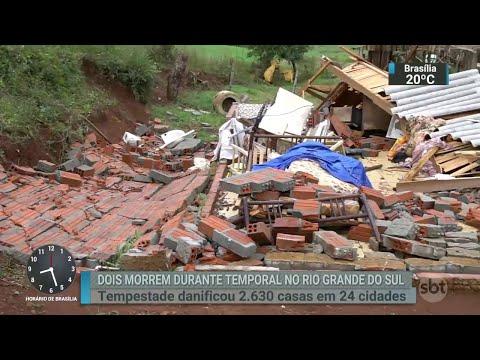 Duas pessoas morreram durante forte chuva que atinge o RS | SBT Brasil (12/06/18)
