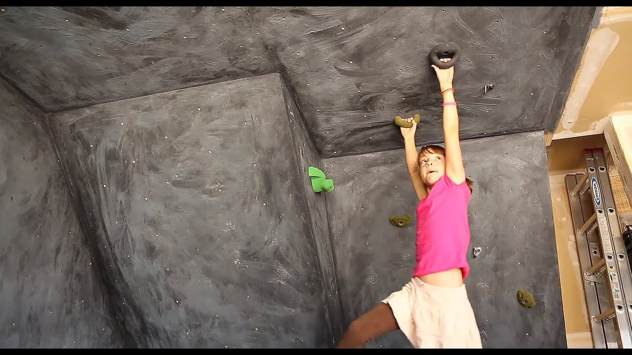 Girl Builds A Garage Climbing Wall