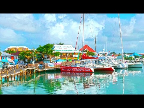 Caribbean Antigua island 4K 2⃣0⃣1⃣7⃣ A walk through the harbour St. John's.