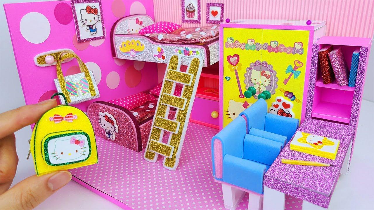DIY Miniature Cardboard House Bedroom for two, backpack