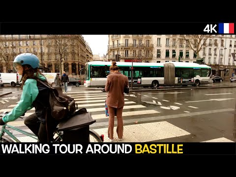 4K WALKING TOUR - PARIS FRANCE 🇫🇷 Bastille - Place des Vosges