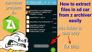 How to extract files in sd card || zarchiver problem fix|| by Andromaster