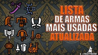 Monster Hunter World - LISTA DE ARMAS MAIS USADADAS ATUALIZADA!