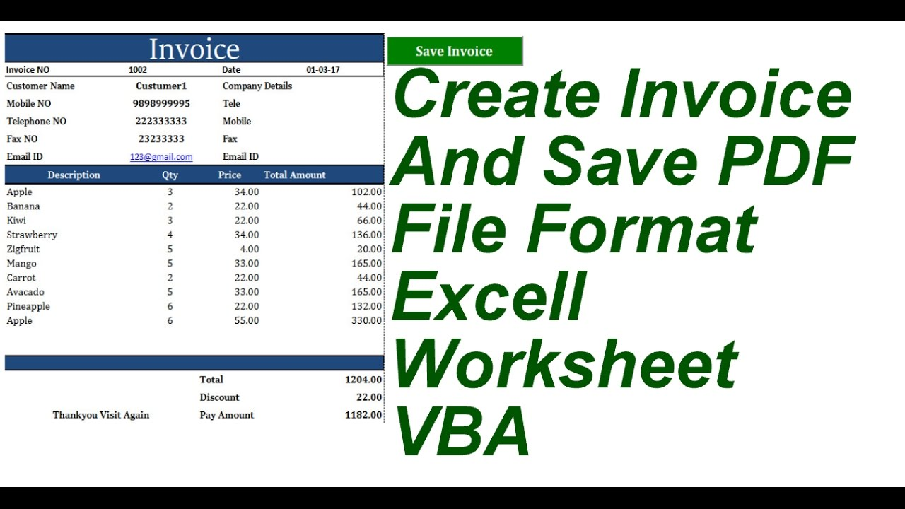 Create Invoice And Save PDF Format Excell VBA YouTube - Create invoice pdf
