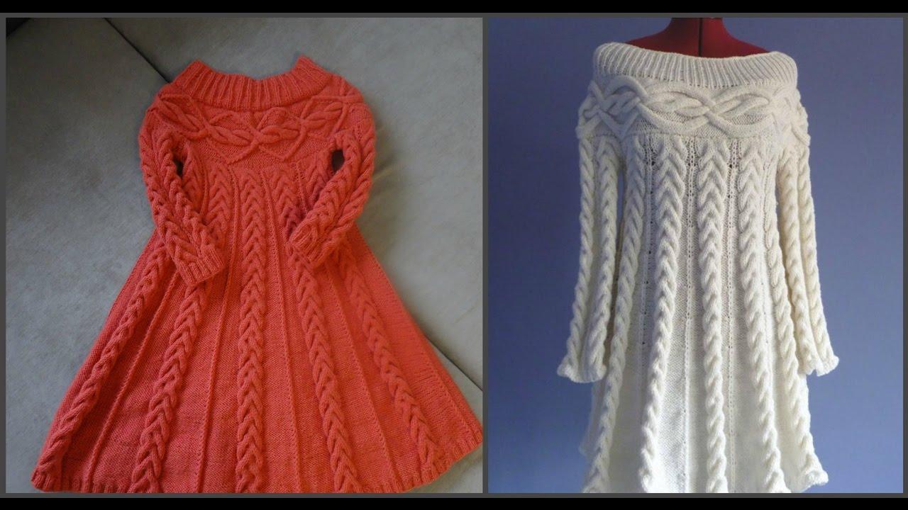 вязаное платье спицами в стиле шамони часть первая схемаknit