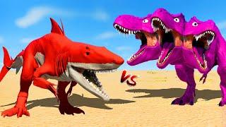 Red Carcharomonstrum vs 3Head Pink T-Rex vs Blue Minecraft Spinosaurus 🌍 Jurassic World Evolution