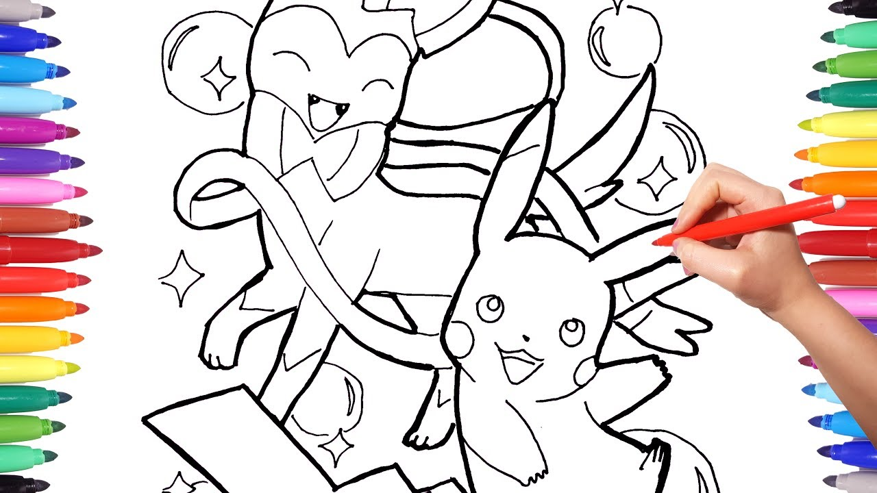 pokemon coloring pages for kids drawing and coloring pikachu and