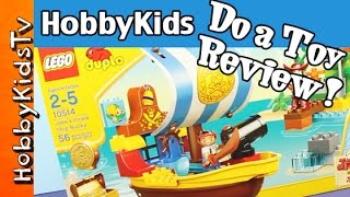 Hobbykids Do A Toy Review! Lego Disney Jakes Pirate Ship Bucky - Lego Duplo Box Open Play - 10514