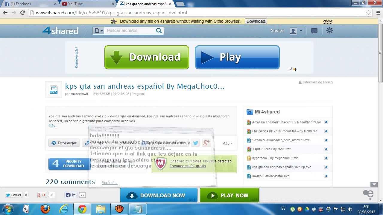 descargar juegos para pc windows 7 gratis completos san andreas