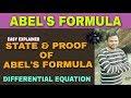 ABEL'S FORMULA | ABEL'S FORMULA DIFFERENTIAL EQUATIONS