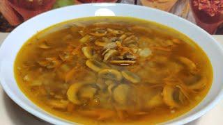 Грибной суп из шампиньонов!  Вкусный и простой постный , вегетарианский рецепт!
