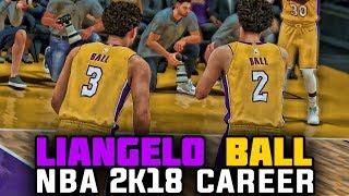 NBA 2K18 LiAngelo Ball MyCareer - LIANGELO LAKERS DEBUT WITH LONZO BALL