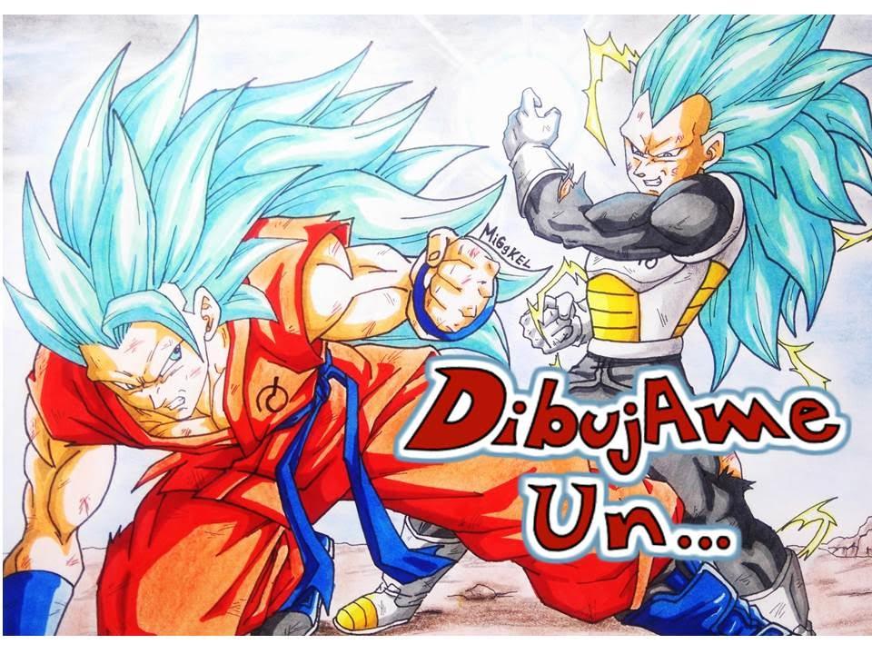 Como dibujar Goku VS Vegeta Ssj azul 3 How to draw Goku vs Vegeta