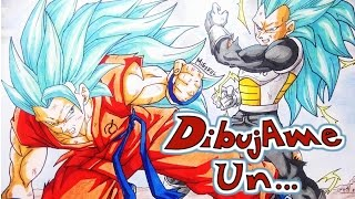 Como dibujar a Goku VS Vegeta SSj god SSj Fase 3. How to draw Goku vs Vegeta SSgodSS fase 3
