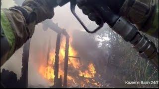 Brandweer Prio 1 tuinhuis in brand