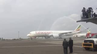 First Ethiopian Airlines A350-900 Water Cannon Salute in Addis Ababa Bole Airport
