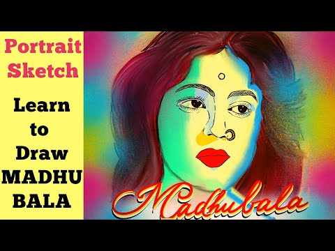 Draw beautiful Bollywood actress MADHUBALA Sketch step by step tutorial | Easy portrait drawing thumbnail