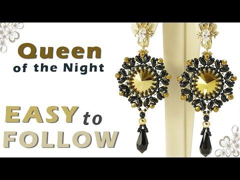 How to make earrings using rivoli and superduo beading tutorial