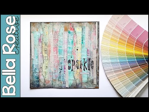 Art Journal Background Technique with Paint Chip Samples + Modeling Paste | Mixed Media Art Journal