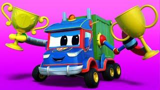 Truck cartoons for kids -  GARBAGE TRUCKS RACE  - Super Truck in Car City !