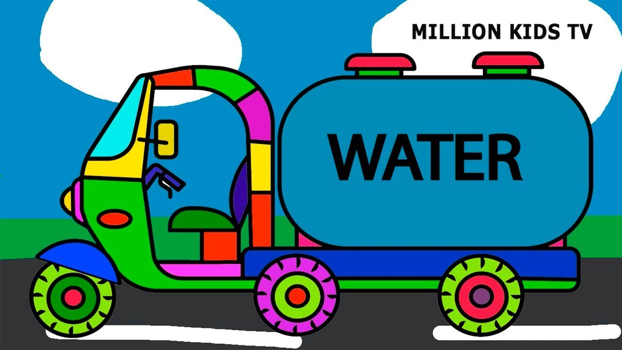 Water Tank Truck Coloring Pages, Colors For Kids With