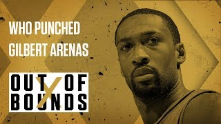 Gilbert Arenas Gets Punched   Out of Bounds