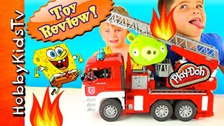 SpongeBob Firetruck! Bad Piggie on FIRE + Krabby Patty Wagon, Toy Review HobbyKidsTV