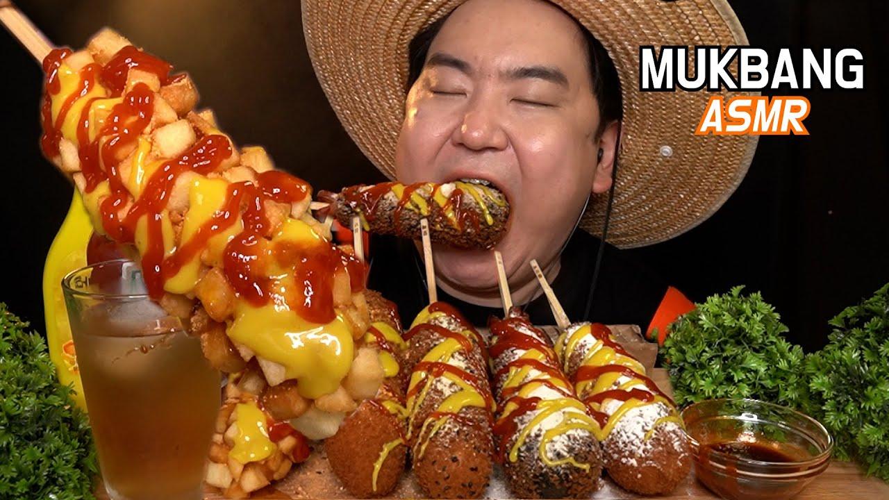 명랑핫도그(명랑한세트:) 먹방 이팅사운드 ASMR KOREAN CHEESE CORNDOG MUKBANG EATING SHOW