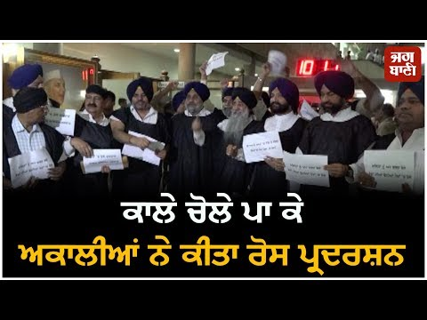 Budget Session Punjab 8th day: SAD's black protest against Punjab Government outside the house
