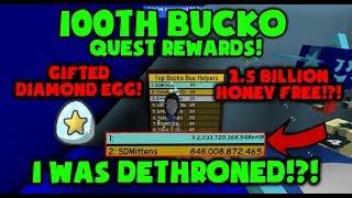 I WAS DETHRONED!?! 100th BUCKO QUEST REWARDS! Roblox Bee Swarm Simulator