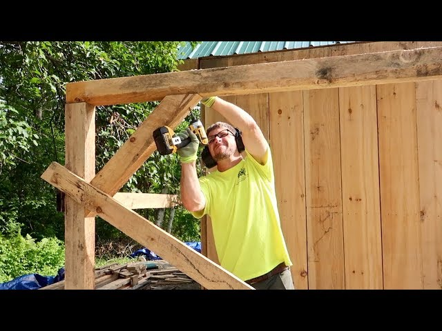 Installing the Last of the TIMBER FRAMING on the POST and BEAM BARN we Bought off the INTERNET
