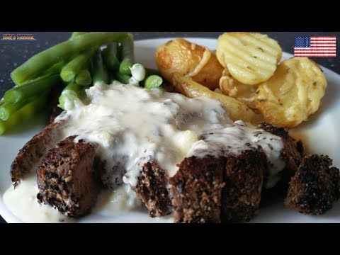 Pepper Steak With Blue Cheese Sauce