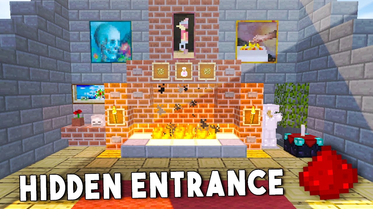 SECRET FIREPLACE ENTRANCE - Minecraft Redstone Tutorial (Xbox, PS4 ...