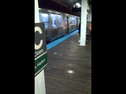 """CTA Green Line Train to Cottage Grove arrived at Cicero """"L"""" Station"""