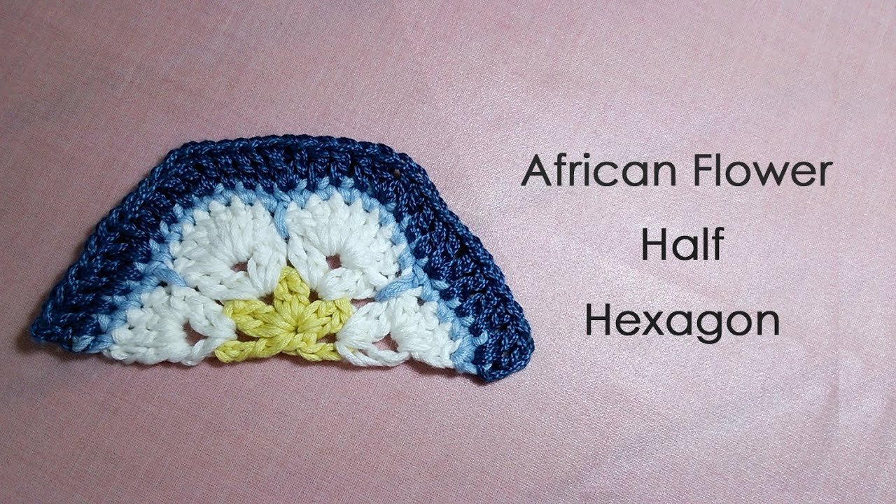 African Flower Crochet Pattern Half : ?????????????????(?? 1/2? * African Flower Half Hexagon ...