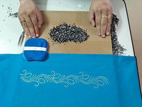 How to Stone Board make a Rhinestone Transfer and Apply to Saree Borders Video