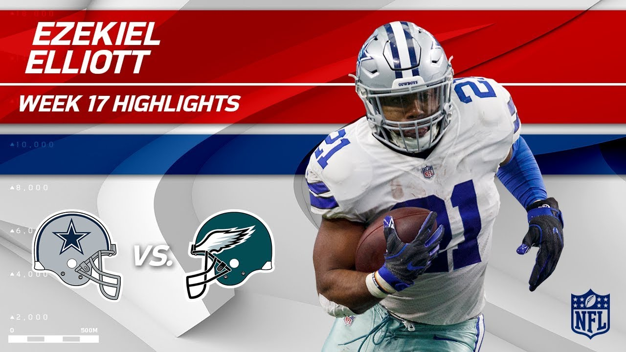 63fe69770 Ezekiel Elliott Ends the Season Big w/ 141 Total Yards! | Cowboys vs. Eagles  | Wk 17 Player HLs
