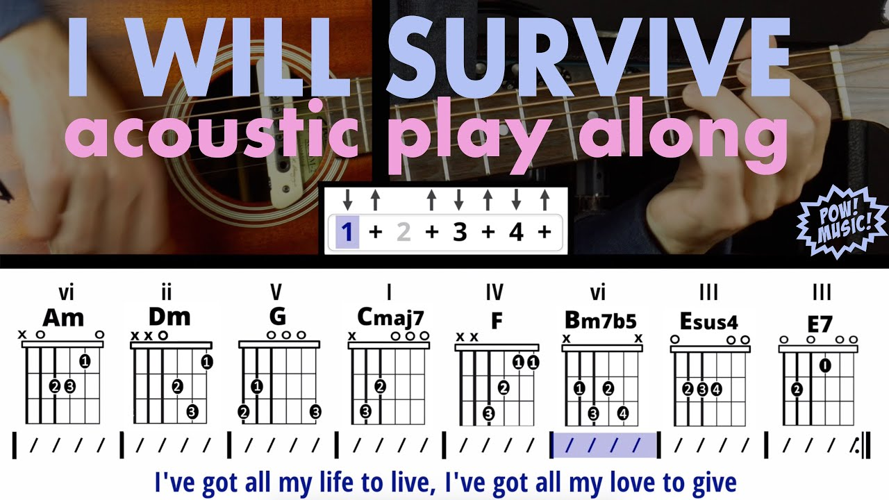 I Will Survive Acoustic Guitar And Vocals Play Along 7 Chord Song Gloria Gaynor Cake Made Easy Youtube