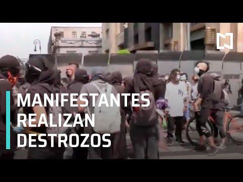 Manifestantes avanzan rumbo al Zócalo capitalino; provocan destrozos en diversos puntos.