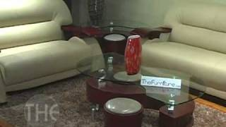Grandiose Curvy Wood And Leather Sofa And Loveseat Set By Global Furniture Usa