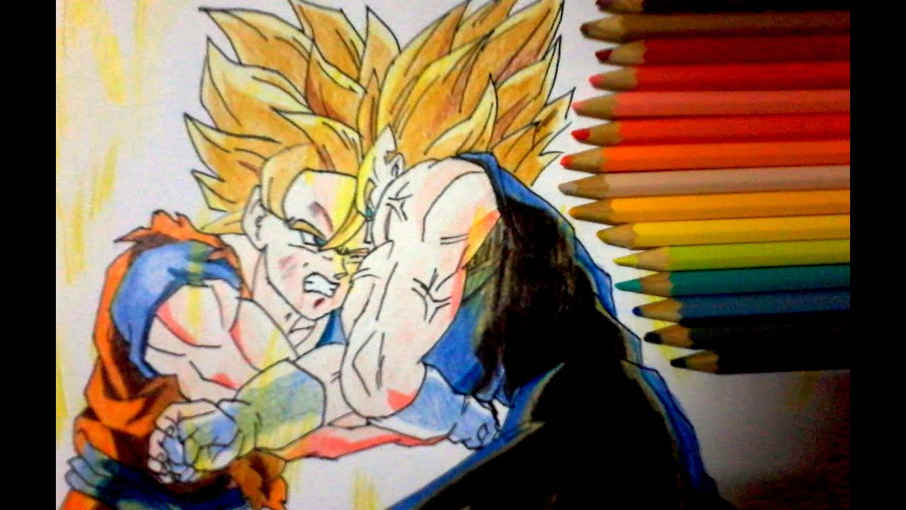 dibujando a goku vs majin vegeta drawing goku vs majin