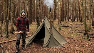 Winter Camping in a Hobbit Tent and a Woodstove thumbnail