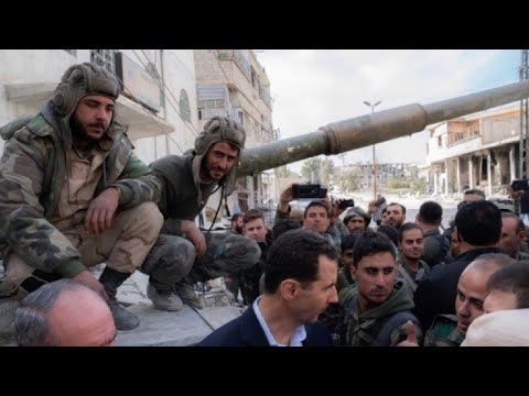 Bashar al Asad visita a las tropas del régimen sirio en Guta